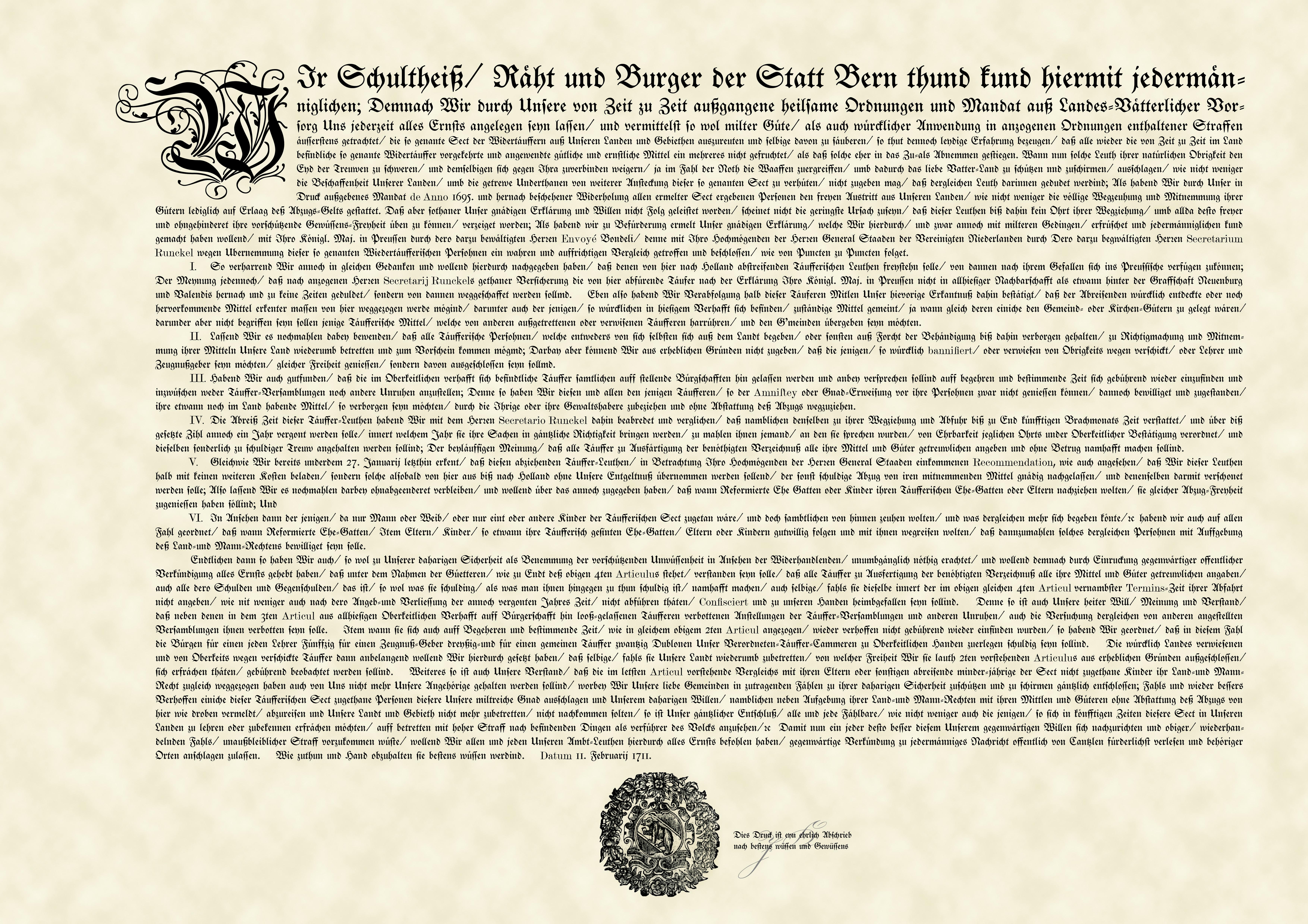 Amnestieplakat von 1711, Wiedertäufer Amnestie, Bern